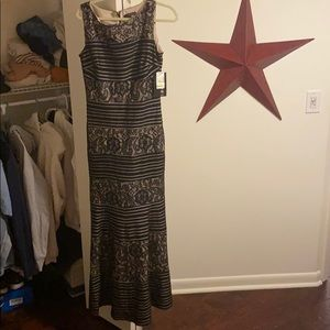 Floor length fit and flare dress